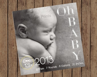 Oh Baby Birth Announcement | Square (5x5)