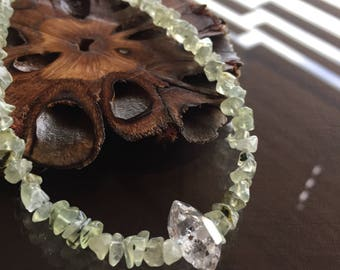 Prehnite and Herkimer Diamond Necklace, Prehnite Necklace