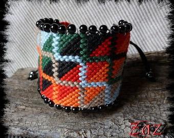 Bracelet Brazilian XXL multicolored square pattern
