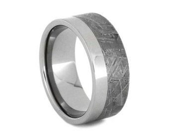 Meteorite Wedding Band, Titanium Ring Paired With Gibeon Meteorite, Two Tone Wedding Band