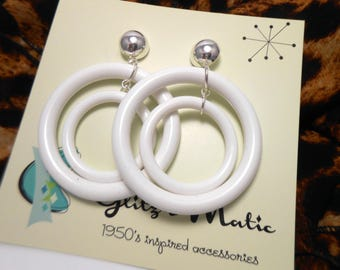 double white hoop earrings 1950's reproduction glitzomatic glitz-o-matic