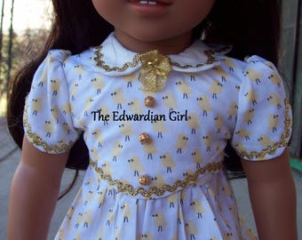 OOAK 1930s Easter chick yellow print gold ric rac button dress for 18 inch play dolls such as American Girl, Springfield, OG. Made in USA