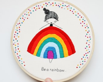 Hand Embroidery Hoop Art 'Marnie Makes- Rainbow Girl' Illustration 100% Hand Embroidered