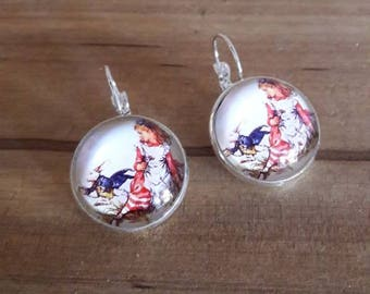 Earrings silver plated earrings with illustration pays des merveilles Alice cabochon