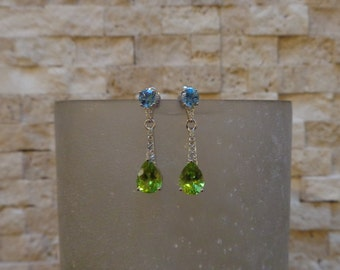 Small Blue Topaz and Peridot drop earrings in Sterling Silver with pave cz