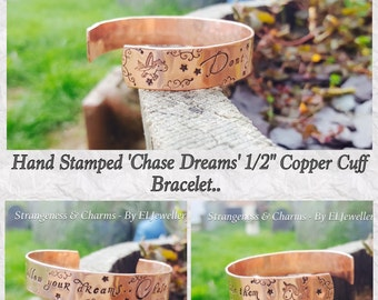 """Hand stamped Unicorns 'Chase Dreams' Copper 1/2"""" Cuff Bracelet, Unicorn Jewellery, Dreams, Stamped Metal, Jewellery, Bracelet, Unicorns"""