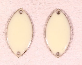 sequins 2 oval enameled white off connector brass 18x10mm