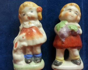 Occupied Japan Little Boy and Girl Figurines. Vintage.