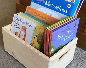 Wooden Crate.Small stackable box.Storage crate.With handles.Untreated pine wood.Organisation. storage. Book Crate. Book Box. Size 30x20x13cm
