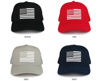 American Flag Rubber Glued 5 Panel Structured Trucker Mesh Back Cap (A12-USA)