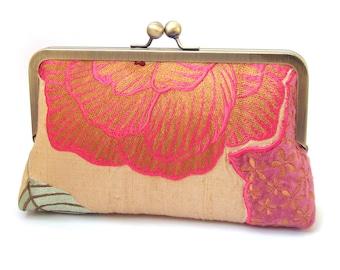 Pink flower clutch bag, silk purse, cerise purple gold, embroidered appliqué flower handbag