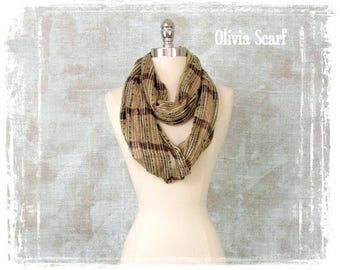 Womens Scarf, Fall Scarf, Infinity Scarf, Woven Scarf, Metallic
