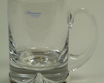 """Silver and Crystal - TANKARD Glass - 5 1/2"""" - Boxed"""