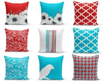 Outdoor Pillows, Red Turquoise White, Patio Decor, Outdoor Throw Pillows