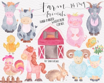 Farm Animals Clipart, Watercolor Hand Painted Clipart, Farm Clipart, Watercolor Clipart, Comercial Use, Cow, Rooster, Lamb, Pig