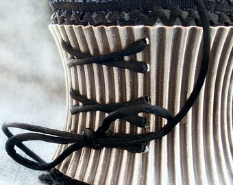 Victorian Corset Cuff Bracelet Gothic Jewelry Black Lace