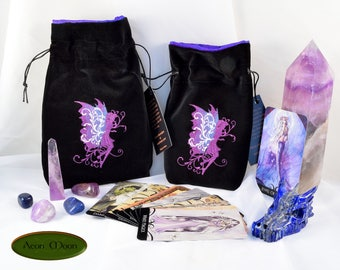 NEW*** Violet Faerie - All Natural Cotton Velvet and Silk Tarot, Oracle, or Crystal bag