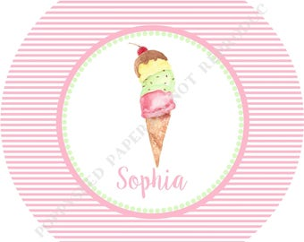 Ice Cream Cone plate or bowl- Personalized melamine plate- Personalized plate or bowl- with Name- Ice Cream Melamine plate