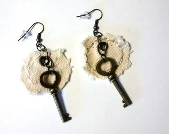 "handmade earrings, OOAK ""Tagged""  Up-cycled, Valentines, Hipster, Shabby Chic, Cottage Chic, Vintage inspired, Steampunk, Geekery,Industrial"