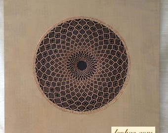 "Wall Art ""Reframed: Lost Art II"", handmade bobbin lace in bronze wire, beige silk canvas, inspired by traditional circular lace patterns"