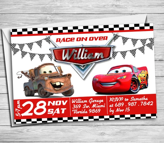 Invitation Maker Cars Theme Fresh Disney Lightning Mcqueen Mater Birthday Party Refrence