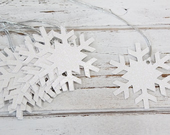 Snowflake Gift Tags (white glitter) - Set of 10 - Christmas gift tags, glitter gift tags