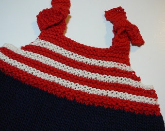 Hand Knit Patriotic Sun Top/Toddler Girls/Cotton/Acrylic/Red/Blue/ivory     READY TO SHIP    Size 12  to 18 months