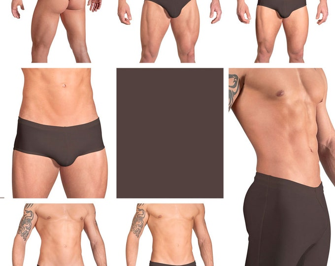 Solid Chocolate Swimsuits for Men by Vuthy Sim.  Choose Thong, Bikini, Brief, Squarecut, Boxer, or Board Shorts - 02
