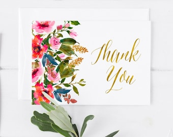 Floral Bridal shower Thank you Spring Thank You Card Printable Pink Orange Blue Thank You Card Wedding Thank You Note Card Bridal Shower