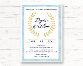 Greek Mediterranean Rehearsal Dinner or Engagement Party Printable Invitation, Greece, Laurel Wreath, Gold, Toga Custom Printable Invite