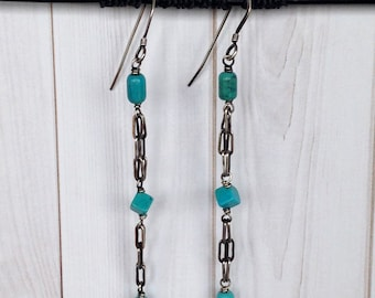 Turquoise TRINITY-Sterling Earrings /Antiqued