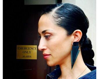 Crowley | Black Triangle Earrings | Minimal Jewelry | Perspex Triangle Earrings | Plexiglass | Stud Earrings | Geometric Jewelry | Hand-made