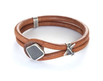 Leather and Sterling Silver Airplane Bracelet for Men, Airplane Leather Bracelet