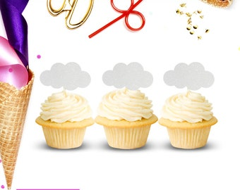 Cloud Cupcake Toppers (Set of 12), Cloud Birthday Party, Up Theme Birthday Party, Cloud Baby Shower, Cloud Party Decor, Adventure Awaits