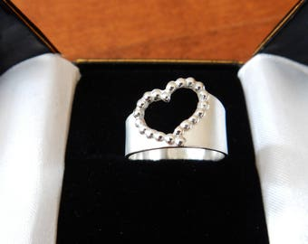 Romantic Heart Ring, Fine Silver, Sterling Silver, Handmade, One of a Kind, Size 10 (US)