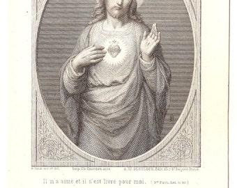 Sacred Heart of Jesus Antique French Catholic Holy Prayer Card, Engraving, Jesus Christ, Catholic Gift, Devotional Ephemera, Christian
