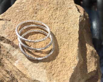 Silver Linings, Set of 3, Sterling Silver Stacking Rings, sizes 6.5, 7, 7.5 and 8.5