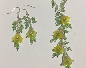 Yellow bellflower spring necklace and earrings