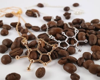 Caffeine (Coffee, Tea) Molecule Necklace Flat