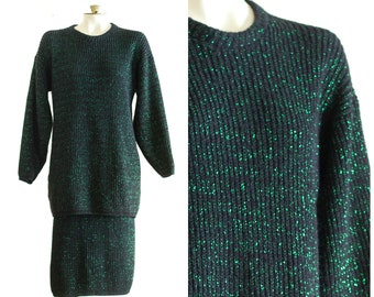 1980s black and green oversize knit sweater and skirt