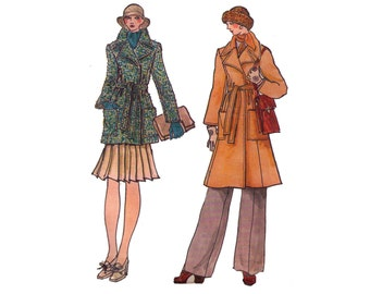 Uncut Vogue 9005, sewing pattern, size 10 women's collared coat pattern, wrap coat, pea coat pattern