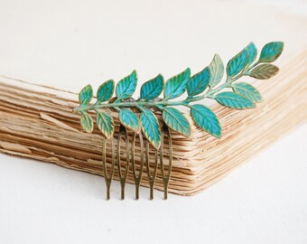 Leaf Hair Comb Green Branch Hair Comb Rustic Wedding Bridal Hair Woodland Fern Hair Comb Boho Headpiece Gift for Her Green Leaf Hair Clip