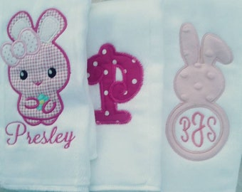 personalized Set of burp cloths
