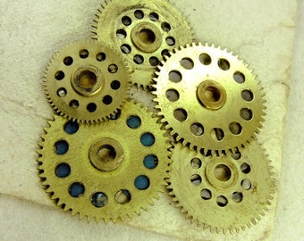 Brass Big Clock Gears - Steampunk Findings - set of 5 - G100