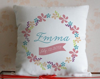 Personalized Floral Name Decorative Pillow Cover,Custom Date Throw Pillow Case,Wreath Cushion Cover,baby birth pillow,Birthday Gift To Girl