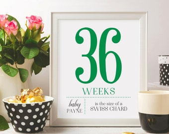 Modern weekly pregnancy signs, pregnancy weeks, pregnancy countdown, baby weeks, pregnancy prop, pregnancy sign