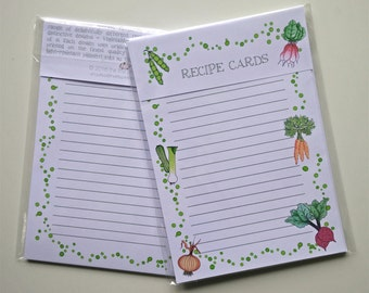 Recipe Cards, Vegetables Design - double-sided, A5 size, Pack of 10