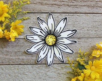 Hand Drawn Daisy Waterproof  Sticker