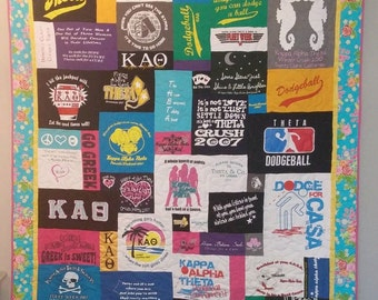 Personalized T-SHIRT QUILT - collect your t-shirt memories of graduation, vacations, college, baseball, hockey, ballet, band, concerts