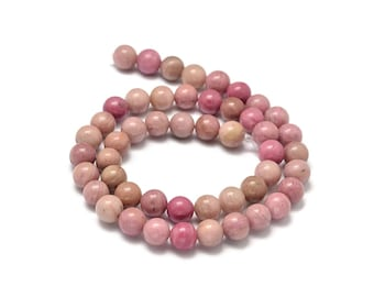 Natural Pink Wood Lace Stone Beads Strands 6, 8 or 10mm Round